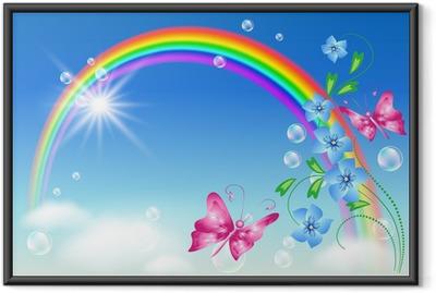 Innrammet plakat Regnbue i himmelen