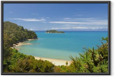 Gerahmtes Poster Neuseeland Landschaft. Abel Tasman National Park.