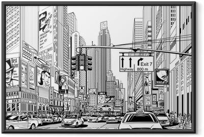 Gade i New York City Indrammet plakat