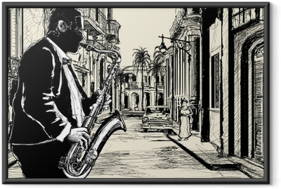 saxophonist in a street of Cuba Framed Poster