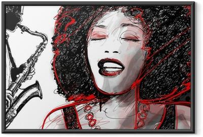 Póster Enmarcado Cantante de jazz y el saxofón