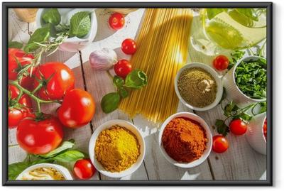 Ingelijste Poster Verse groenten en kruiden in de Italiaanse keuken