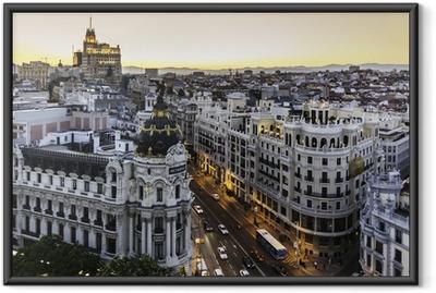 Ingelijste Poster Panoramisch uitzicht op Gran Via, Madrid, Spanje.