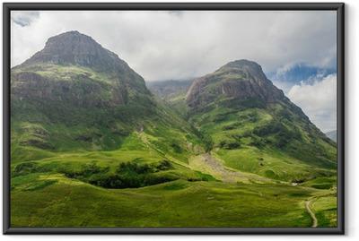 Innrammet plakat Fjellutsikt i Skottland i Glencoe