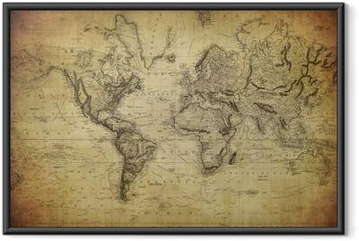 Ingelijste Poster Vintage kaart van de wereld 1814 ..