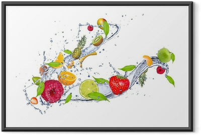 Mix of fruit in water splash, isolated on white background Framed Poster
