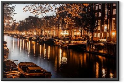 Çerçeveli Poster Geceleri Amsterdam, Hollanda
