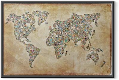 Carte du monde photos, texture vintage Framed Poster