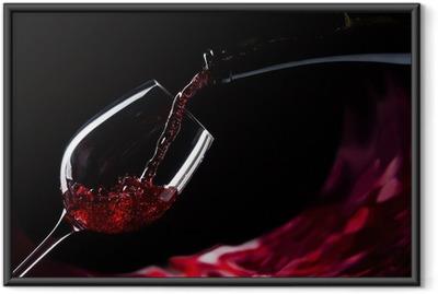 Gerahmtes Poster Flasche und Glas mit Rotwein
