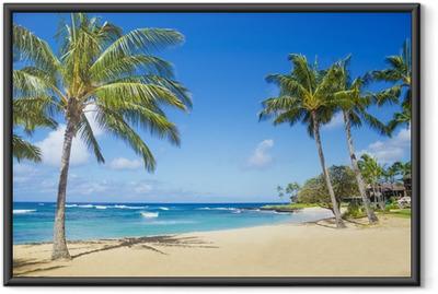 Poster en cadre Palmiers sur une plage de sable à Hawaii