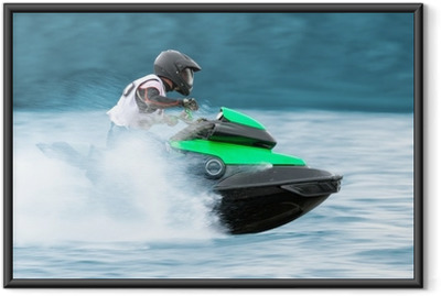 Gerahmtes Poster Männer auf einem Hochgeschwindigkeits-Jet-Ski