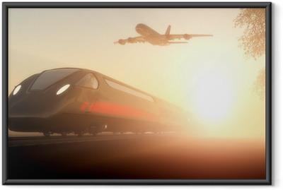 Plakat w ramie Pociąg i samolot