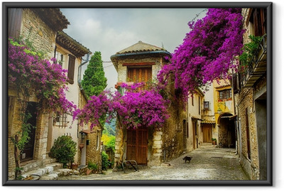 Taide kaunis vanha kaupunki provence Kehystetty juliste