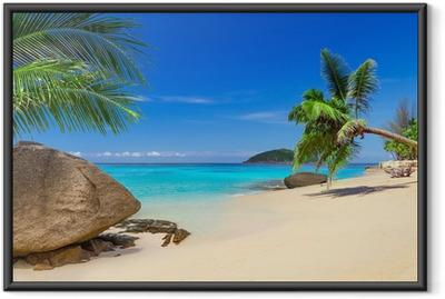 Gerahmtes Poster Tropische Strandlandschaft in Thailand