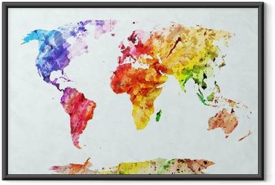 Poster in Cornice Acquerello mappa del mondo