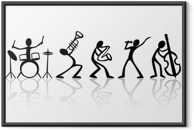 Band musicians group hand drawn vector t-shirt art Framed Poster