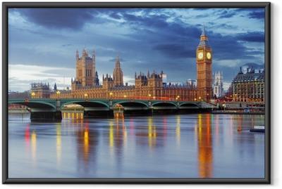 Ingelijste Poster Londen - Big Ben en huizen van het parlement, UK