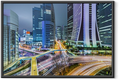 Tokyo Japan at West Shinjuku Skyscraper District Framed Poster