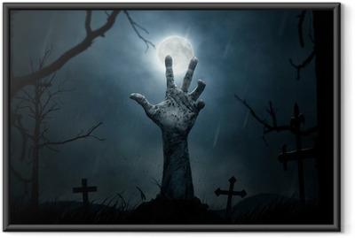 Poster i Ram Halloween, döda hand som kommer ut från jorden