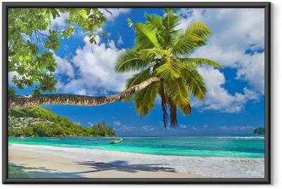 Gerahmtes Poster Idyllische Tropenlandschaft - Seychellen