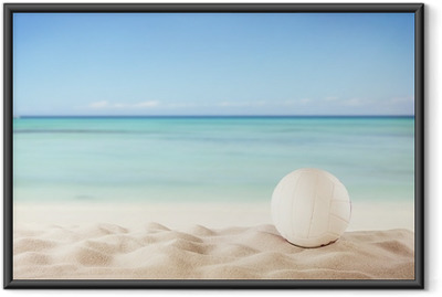Summer beach with volleyball ball Framed Poster