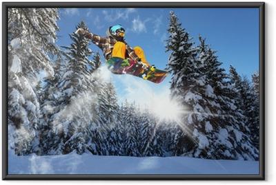 Poster en cadre Snowboarders dans les pins - Paysages