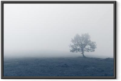 Poster in Cornice Albero solitario con la nebbia