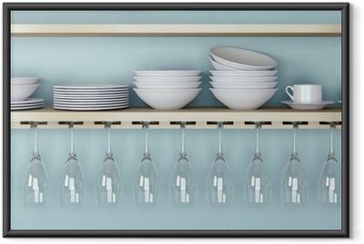 Ingelijste Poster Keramische keukengerei op de plank.