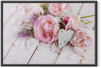 Fresh roses and decorative heart. Framed Poster