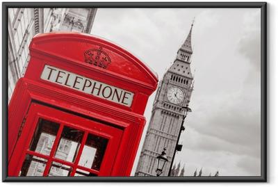 Gerahmtes Poster Telefonzelle. London, UK