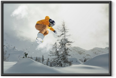 Poster en cadre Snowboarder freerider