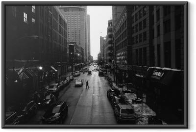 Póster Enmarcado Blanco calles de Chicago y negro