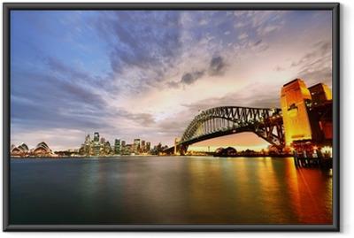 Innrammet plakat Sydney Harbour Panorama ved skumring