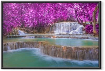 Waterfall in rain forest (Tat Kuang Si Waterfalls at Luang praba Framed Poster