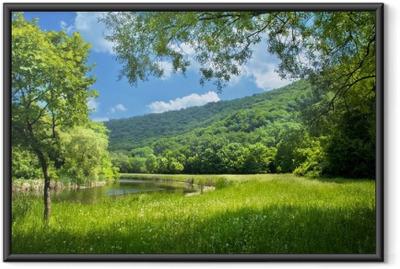Poster en cadre Paysage d'été avec le fleuve et le ciel bleu - Thèmes