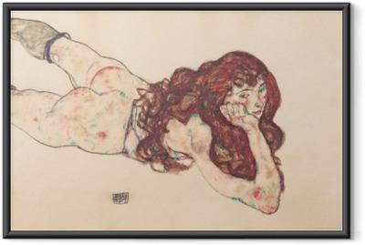 Poster en cadre Egon Schiele - Femme nue couchée sur le ventre