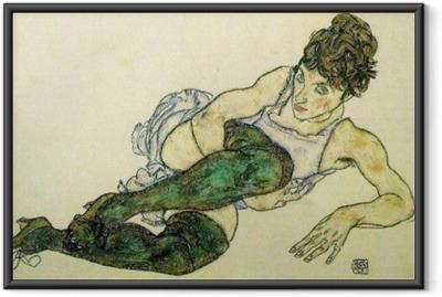 Póster Enmarcado Egon Schiele - Mujer de descanso con las medias verdes