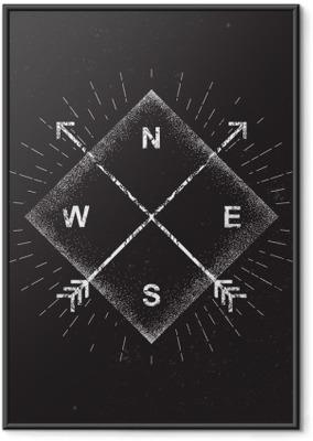 Gerahmtes Poster Pfeile, Kompass, Grunge-Design, Vektor-Illustration