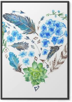 Gerahmtes Poster Boho Style Watercolor Heart Shape