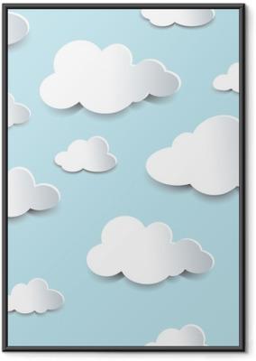 Gerahmtes Poster Nahtlose Ausschnitt Wolken