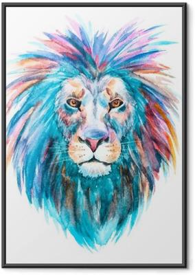 Ingelijste Poster Watercolor vector leeuw