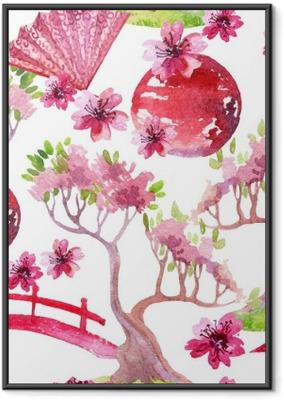 Gerahmtes Poster Japanische nahtlose Muster