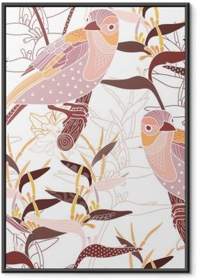 Poster en cadre Seamless floral avec des oiseaux