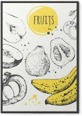 Ingelijste Poster Banaan, mangosteen, appel, bergamot. Hand getrokken set met vers voedsel.
