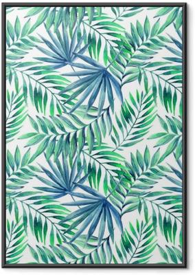 Plakat w ramie Akwarela tropikalnych liści bezszwowe wzór