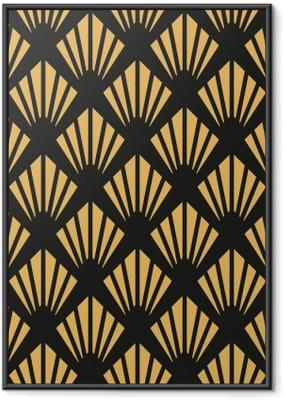 44462d0a Innrammet plakat Art Deco sømløs vintage tapet mønster