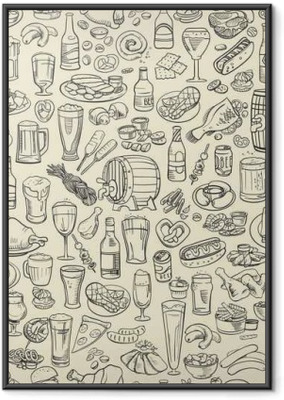 Ingelijste Poster Schetsmatig bier en snacks