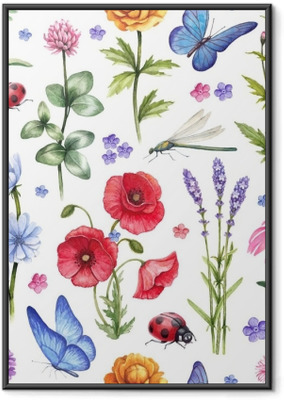 Gerahmtes Poster Wilde Blumen und Insekten Illustrationen. Aquarell Sommer Muster