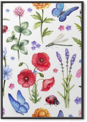 Poster en cadre Fleurs sauvages et illustrations d'insectes. modèle d'été aquarelle
