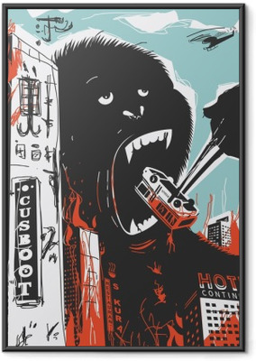 Big Gorilla destroys City Framed Poster